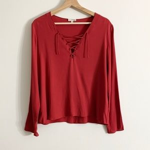 Aritzia Wilfred Red Long Sleeve Lace Up Blouse